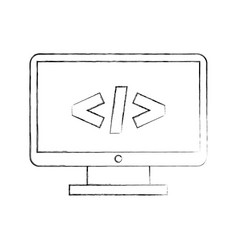 computer desktop with progamming language vector image vector image
