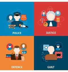Crime and punishments flat icons composition vector