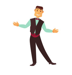 Croupier man or casino poker dealer vector
