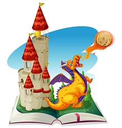 Fantacy book with drago and castle vector image vector image