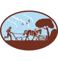 Farmer and horse plowing the field vector