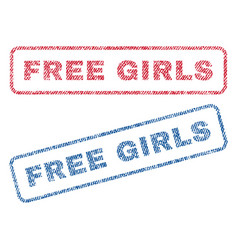 free girls textile stamps vector image