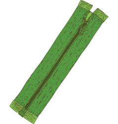 green sewing zipper vector image vector image