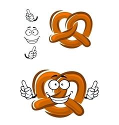 Happy cartoon bavarian crispy pretzel vector image