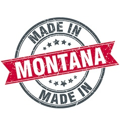Made in montana red round vintage stamp vector