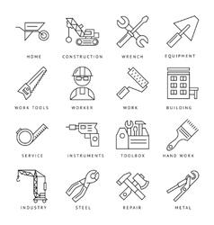 Monochrome Construction Icons Set vector image vector image