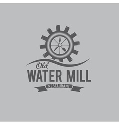 Old water mill restaurant concept design template vector