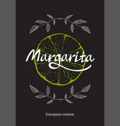 Restaurant cocktail bar template with lime on vector
