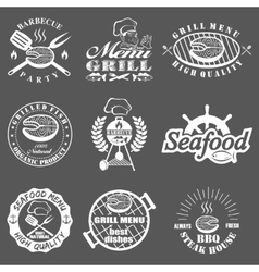 Set of seafood labels vector