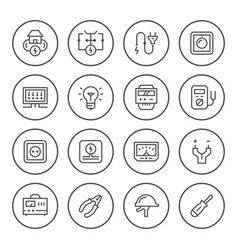 Set round line icons of electricity vector