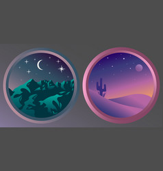 Two flat night landscapes with stars and the moon vector