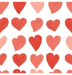 Watercolor red and pink hearts seamless pattern vector image vector image