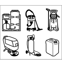 Set of cleaning equipment vector