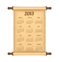 2013 calendar on parchment roll vector