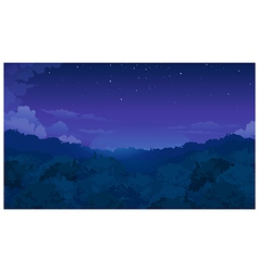 Trees among night sky vector