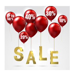 Balloons and discounts sale on isolated background vector