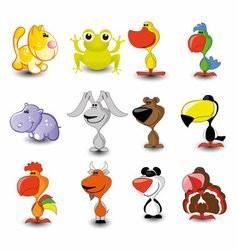 Set of 16 Cute Cartoon Animals vector image