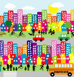 Cartoon city with people pictograms vector