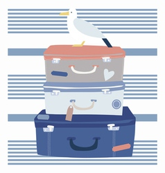 Sea voyage suitcases and seagull vector