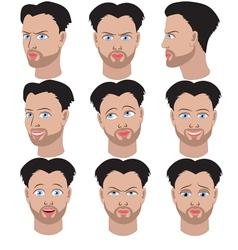 Set of variation of emotions of the same man vector
