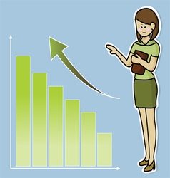 Business woman and growing graph vector