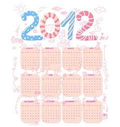 cute 2012 calendar vector image
