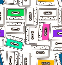 Seamless pattern of audio cassette tapes vector