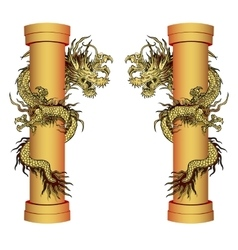 Gold dragon on a pole vector