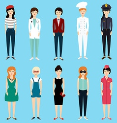 Set of colorful profession woman flat style vector