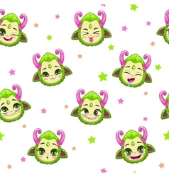 Seamless pattern with cute green monster faces vector