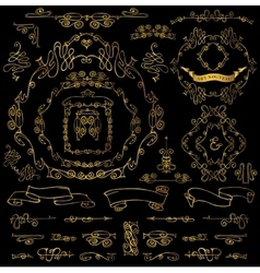 Calligraphic royal design elementsgold frames vector