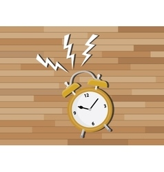 Yellow clock deadline with wood background vector