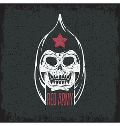 Red army soldier skull grunge design template vector
