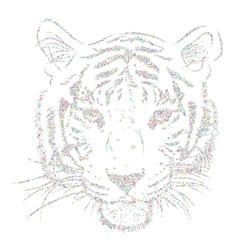 Original artwork tiger with dark stripes isolated vector