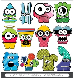Set of twelve monsters vector