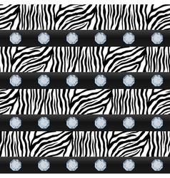Seamless pattern striped zebra precious stones vector