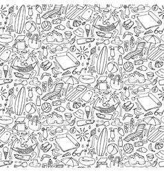 Beach doodle seamless pattern vector