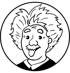 Albert Einstein portrait with tongue out vector image vector image