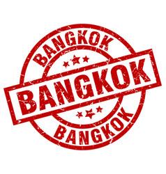 Bangkok red round grunge stamp vector