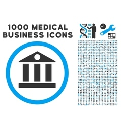Bank Icon with 1000 Medical Business Symbols vector image