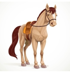 Beige horse saddled and in harness isolated on a vector