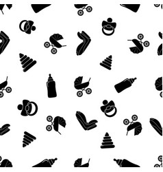 child seamless black and white pattern with pram vector image