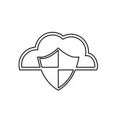 cloud shield security vector image