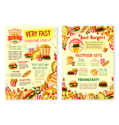 fast food restaurant poster with menu template vector image vector image