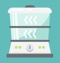 Food steamer flat icon kitchen and appliance vector