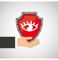 hand holding eye shield protection data vector image