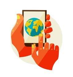 Internet connection of hand touch screen vector