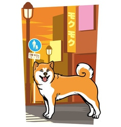 Japanese dog on the city street vector