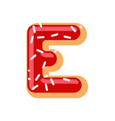 letter e donut font doughnut alphabet sweet vector image