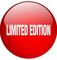 Limited edition red round gel isolated push button vector